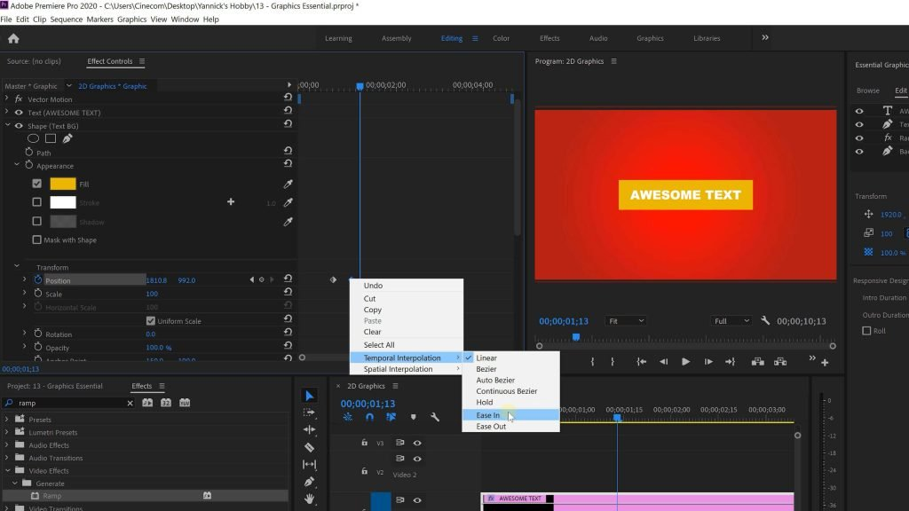 Graphics Animations in Premiere Pro