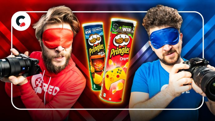 Making a Pringles commercial but blindfolded